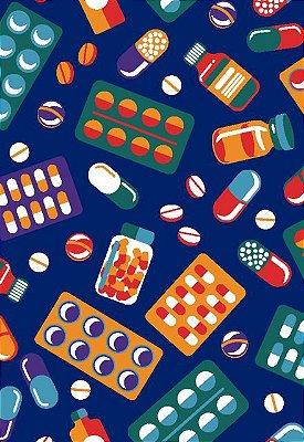 Tecido Tricoline Estampa de Comprimidos, Âmpolas, Pílulas e Remédios - Fundo Verde - Preço de 50cm x 146cm
