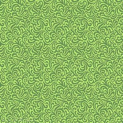 Tecido Tricoline  Estampa Arabesco Verde Pistache - Coleção Neutro - Preço de 50 cm X 150 cm
