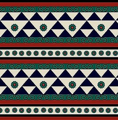 Tecido Tricoline Geométrico Jade e Marrom - Coleção Étnico Geométrico - Preço de 50 cm x 150cm