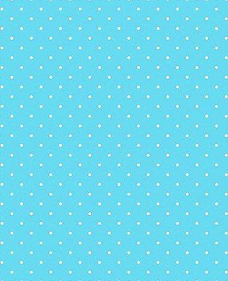 Tecido Tricoline Estampa Micro Poá Branco - Fundo Azul Acqua Cyan  - Preço de 50 cm X 150 cm