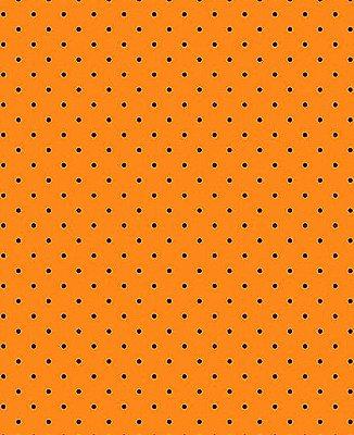 Tecido Tricoline Estampa Micro Poá Preto - Fundo Laranja  - Preço de 50 cm X 150 cm