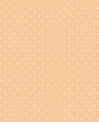 Tecido Tricoline Estampa Micro Poá Branco - Fundo Salmão - Preço de 50 cm X 150 cm