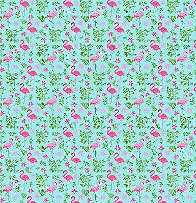 Tecido Tricoline com Estampa de Flamingo (Fundo Azul ) - Preço de 50 cm X 150 cm