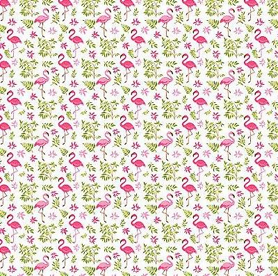 Tecido Tricoline com Estampa de Flamingo (Fundo Branco) - Corte Mínimo 50 cm X 150 cm