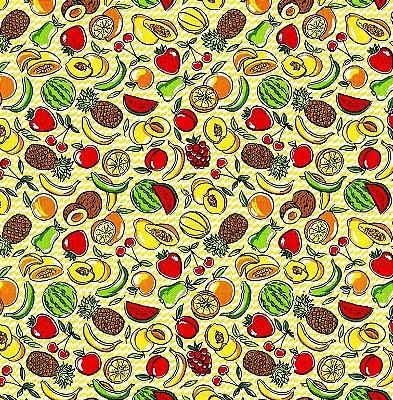 Tecido Tricoline Estampa de Frutas Tropicais (Fundo Creme) - Preço de 50 cm X 146cm
