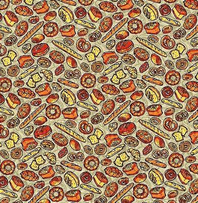 Tecido Tricoline Estampa de Pães Doces e Salgados (Fundo Cinza) 50 cm x 150 cm