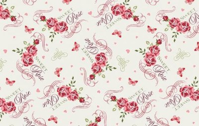 Tecido Tricoline Floral Vermelho e Rosa, Borboletas e Escrita - Fundo Creme - Preço de 50 cm X 150 cm