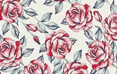 Tecido Tricoline Floral Rosas Vermelhas - Fundo Bege - Preço de 50 cm X 150 cm