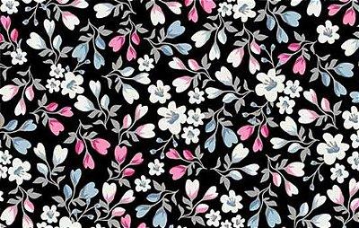 Tecido Tricoline Mini Floral - Fundo Preto - Preço de 50 cm X 150cm