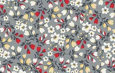 Tecido Tricoline Mini Floral - Fundo Cinza - Preço de 50 cm X 150cm