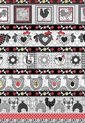 Tecido Tricoline Estampa de Barrados Galo, Galinha e Flor de Cozinha  - Preço de 50 cm X 146 cm