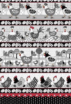 Tecido Tricoline Estampa de Barrados Galo, Galinha e Ovos  - Preço de 50 cm X 146 cm