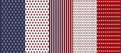 Tecido Tricoline Estampado Marinheiro em Barrado: Barco à vela, Boia, Listra, Âncora e Estrelas - 50 cm x 150 cm