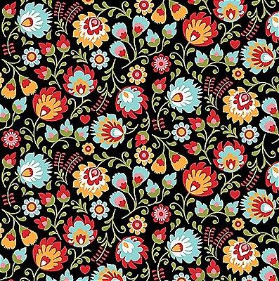 Tecido Tricoline Floral (Fundo Preto) - Coleção Matrioska - 50 cm x 150 cm