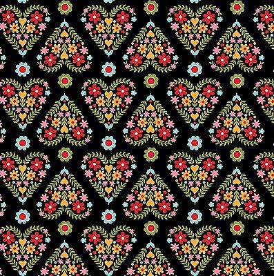 Tecido Tricoline Floral em Formato de Coração - Fundo Preto - Coleção Matrioska - 50 cm x 150 cm