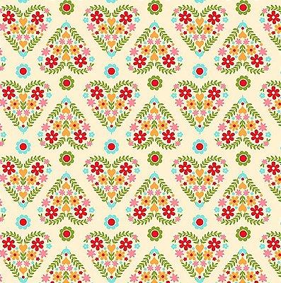 Tecido Tricoline Floral em Formato de Coração (Fundo Creme) - Coleção Matrioska - 45 cm x 150 cm