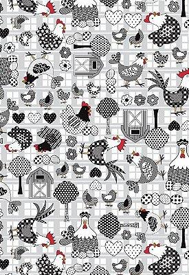 Tecido Tricoline Estampa de Galinhas, Ovos, Coração, Floral e Celeiro - Preço de 50 cm X 146 cm