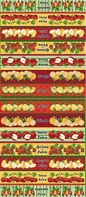 Tecido Tricoline Estampa de Barrados Semaninha Frutas  - Preço de 60 cm X 146 cm