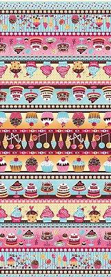 Tecido Tricoline Estampa de Barrados Cupcakes, Doces e Guloseimas  - Preço de 50 cm X 146 cm