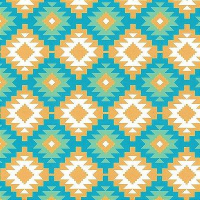 Tecido Tricoline Estampado Tribal Azul e Amarelo - Coleção Lhamas - Preço de 50 cm x 150 cm