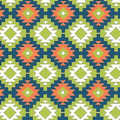 Tecido Tricoline Estampado Tribal Azul Marinho, Laranja e Verde - Coleção Lhamas - Preço de 50 cm x 150 cm