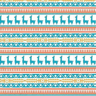 Tecido Tricoline Estampado Lhama Tribal Azul - Coleção Lhamas - Preço de 50 cm x 150 cm