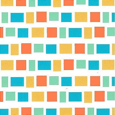 Tecido Tricoline Estampado Quadradinhos com Azul - Coleção Lhamas - Preço de 50 cm x 150 cm