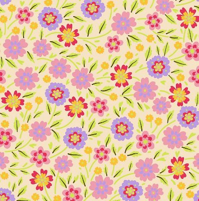 Tecido Tricoline Estampado Flores Verão - Fundo Pêssego (Salmão) - Coleção 4 Estações - Preço de 50 cm x 150 cm