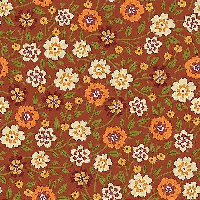 Tecido Tricoline Estampado Flores Outono - Fundo Marrom - Coleção 4 Estações - Preço de 50 cm x 150 cm
