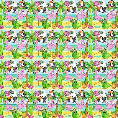 Tecido Estampa Digital Infantil de Flamingo, Tucano e Cactus - Preço de 50 cm x 150 cm