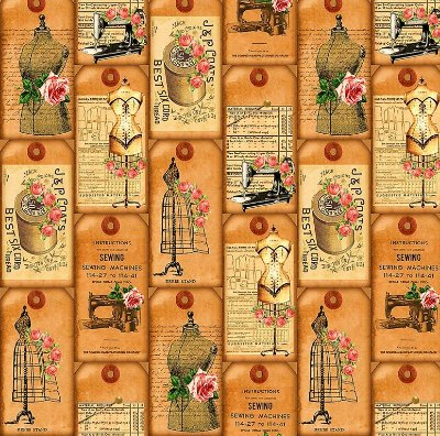 Tecido Estampa Digital Tags de Costura - Preço de 45 cm x 140 cm