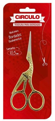 Tesoura Pássaro Dourada para Bordado 10,5 cm
