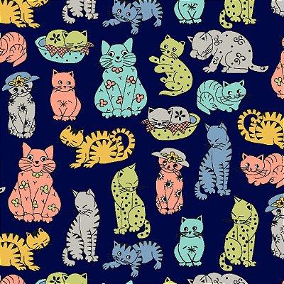 Tecido Tricoline Estampado Gatos - Fundo Azul Marinho - Coleção Gatos Fofos - Preço de 50 cm x 150 cm