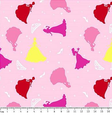 Tecido Tricoline Estampado Cinderela Coloridas - Fundo Rosa - Preço de 50 cm x 150 cm