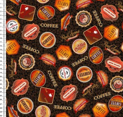 Tecido Digital - Brand Café- Fundo Marrom - Preço de 50cm x 150cm