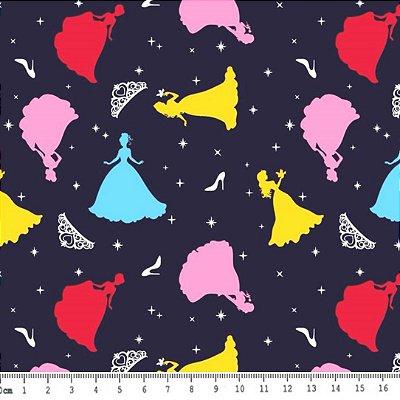 Tecido Tricoline Estampado Cinderela Coloridas - Fundo Marinho - Preço de 50 cm x 150 cm