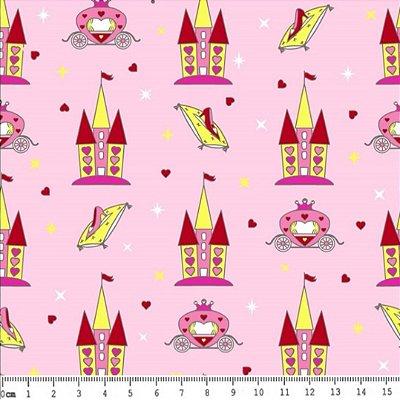 Tecido Tricoline Estampado Castelo Cinderela - Fundo Rosa - Preço de 50 cm x 150 cm