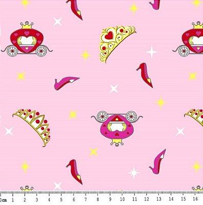 Tecido Tricoline Coroa Cinderela - Fundo Rosa - Preço de 50 cm x 150 cm