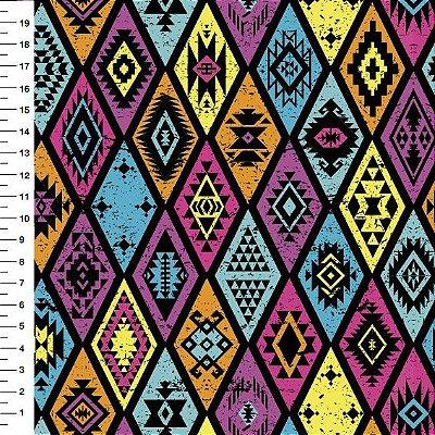Tecido Tricoline Estampa Losangos Coloridos - Preço de 50 cm x 146 cm