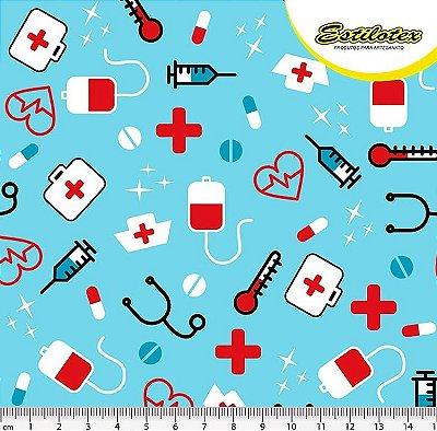 Tecido Tricoline Enfermagem e Médico - Fundo Azul -Preço de 50 cm x 140 cm