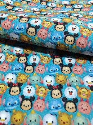 Tecido Estampa Exclusiva de Personagens - Emojis Disney - 100% poliéster - Preço de 80cm x 60cm