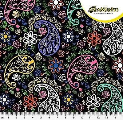Tecido Tricoline Estampa Cashmere Paisley e Floral Color - Fundo Preto - Preço de 50 cm X 140 cm