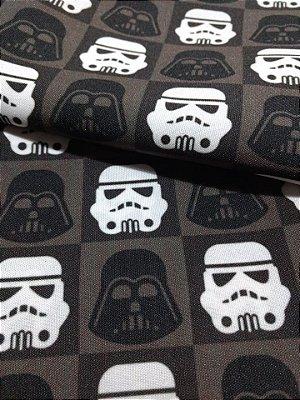 Tecido Estampa Exclusiva de Personagens - Darth Vader e Stormtrooper - Star Wars - 100% poliéster - Preço de 80cm x 60cm