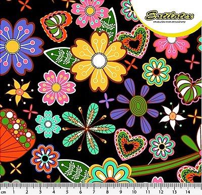 Tecido Tricoline Jardim Florido com Estilo Indian (Fundo Preto) - Preço de 50 cm x 140 cm