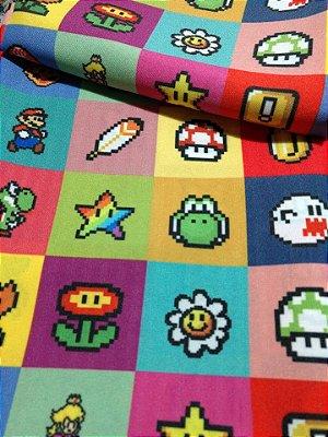 Tecido Estampa Exclusiva de Personagens - Mario Bros Retrô - 100% poliéster - Preço de 80cm x 60cm
