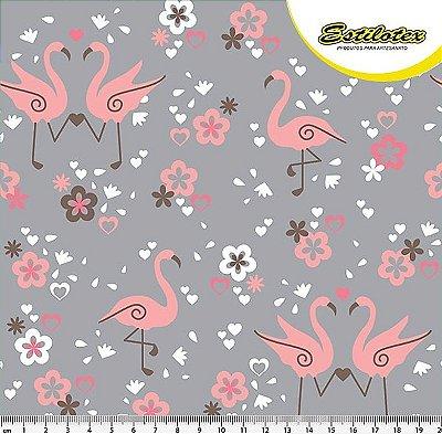 Tecido Tricoline com Estampa de Flamingo (Fundo Cinza ) - Preço de 50 cm X 140 cm