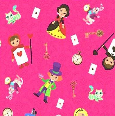 Tecido Tricoline Estampado Digital Alice no País das Maravilhas - Fundo Rosa Pink - Preço de 50cm x 150cm