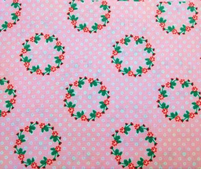 Tecido Tricoline Arco Floral  (Fundo Rosa) - Preço de 50 cm x 150 cm