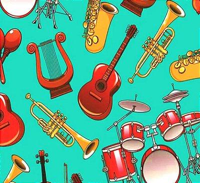 Tecido Tricoline Estampado Digital Instrumentos Musicais - Fundo Verde - Preço de 50cm x 150cm