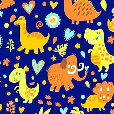 Tecido Tricoline Estampa de Dinossauros - Fundo Marinho - Coleção Jurassic Kids - Preço de 50 cm x 150 cm
